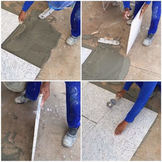 Constru ocivilassentamento de piso de granito flameado - Como poner baldosas en el suelo ...