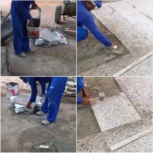 Constru ocivilassentamento de piso granito polido com - Como colocar adoquines de hormigon ...