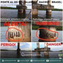 Ponte na AL 101 Sul em Alagoas, Maceió (Brasil) próximo à Praia do Gunga. As fotos mostram armaduras estruturais expostas acelerando as reações de corrosão que poderão comprometer a estrutura da ponte. Registramos aqui um alerta para a região. Fotos enviadas por @arturwanderley //////// AL 101 South Bridge at Alagoas, Maceió (Brazil) near the Gunga Beach. The pictures show exposed structural reinforcement (rebars) accelerating the corrosion reactions that may compromise the structure of the bridge. We report here an alert for the region. Photos sent by @arturwanderley