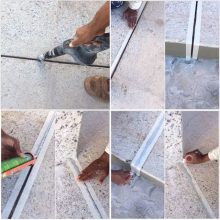 Preenchimento de uma junta de dilatação de piso com poliuretano tipo Monopol PU25. Etapas principais: (1) limpeza da junta; (2) colocação de fita adesiva nas bordas; (3) aplicação do poliuretano; (4) acabamento da superfície e remoção da fita. ///////// Filling a floor expansion joint with polyurethane type Monopol PU25. main steps: (1) cleaning the joint; (2) placing adhesive tape on the edges; (3) application of polyurethane; (4) surface finish and tape removal.